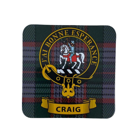 Craig Clan Crest Cork Coaster | Scottish Shop