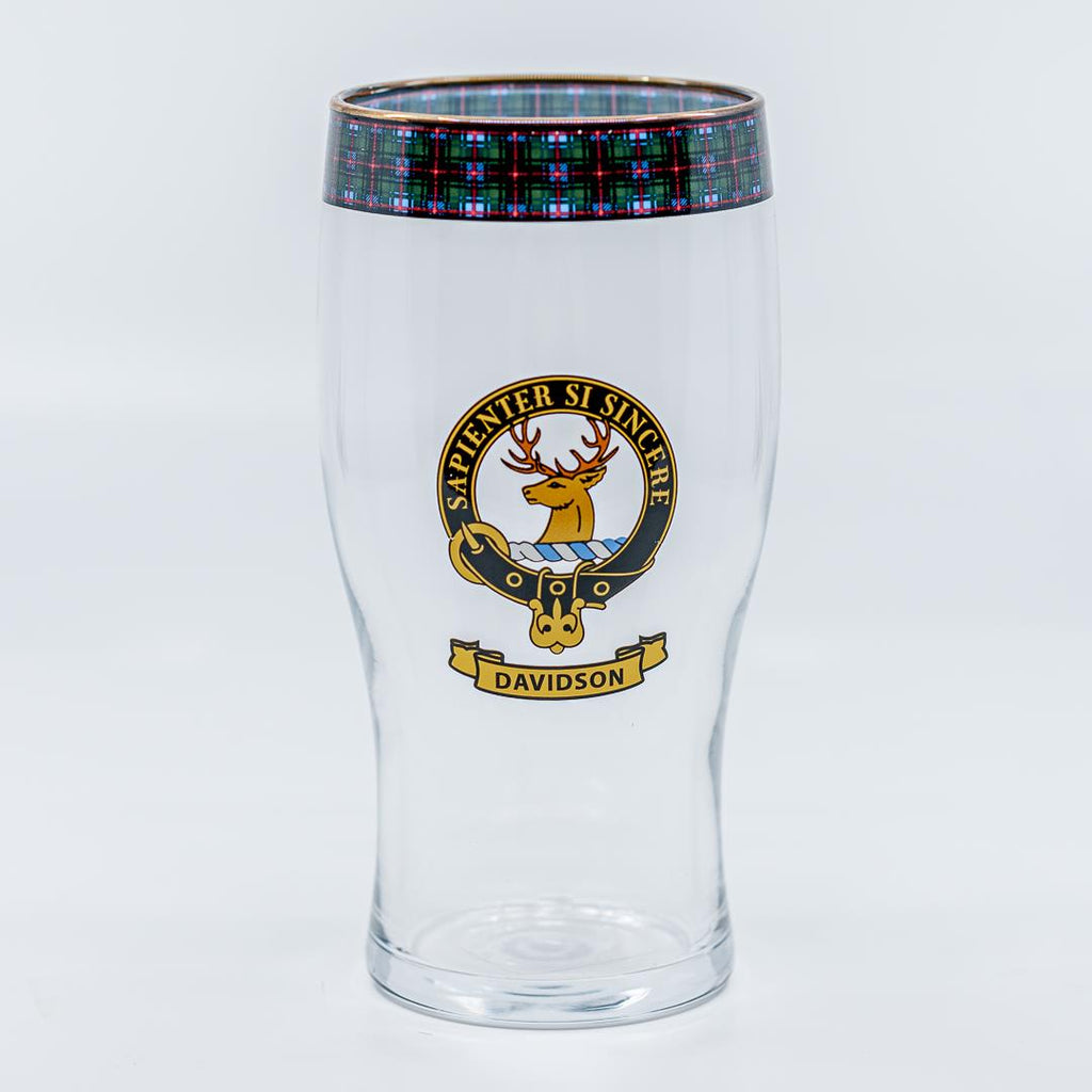 Davidson Clan Crest Pint / Beer Glass | Scottish Shop