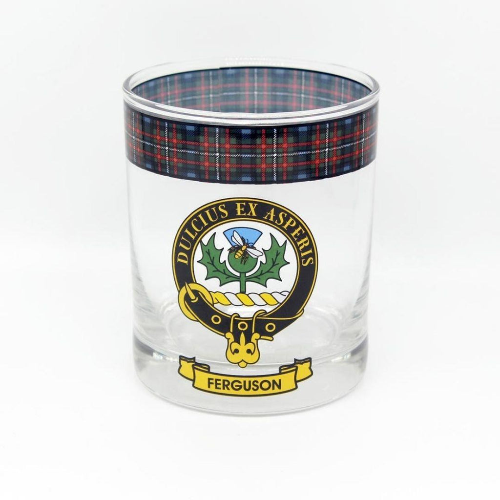 Ferguson Clan Crest Tartan Whisky Glass |Scottish Shop