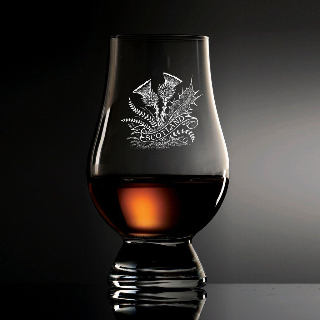Thistle Etched Glencairn Glass | Scottish Shop