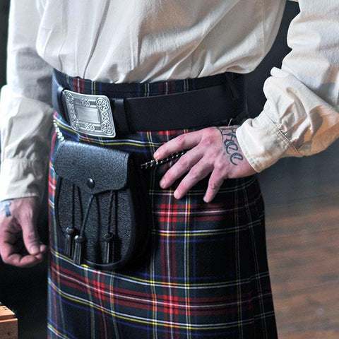 Black Leather Kilt Belt | Scottish Shop