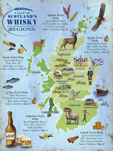 Whisky Map Metal Sign | Scottish Shop