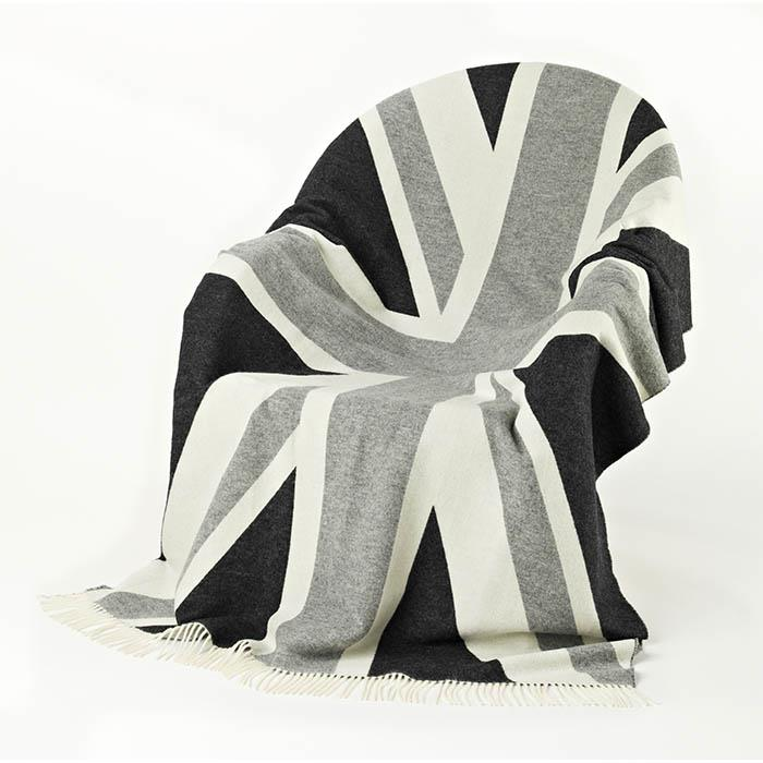 100% Merino Wool Grey Union Jack Blanket | Scottish Shop
