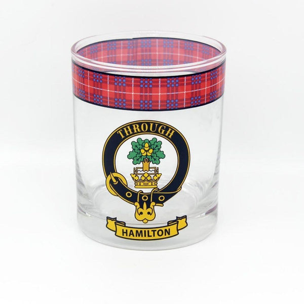 Hamilton Clan Crest Tartan Whisky Glass |Scottish Shop