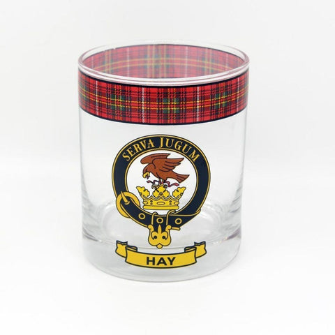Hay Clan Crest Tartan Whisky Glass |Scottish Shop