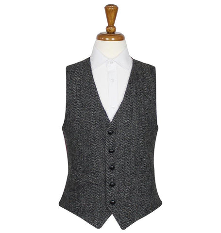 Charcoal Harris Tweed Vest / Waistcoat | Scottish Shop