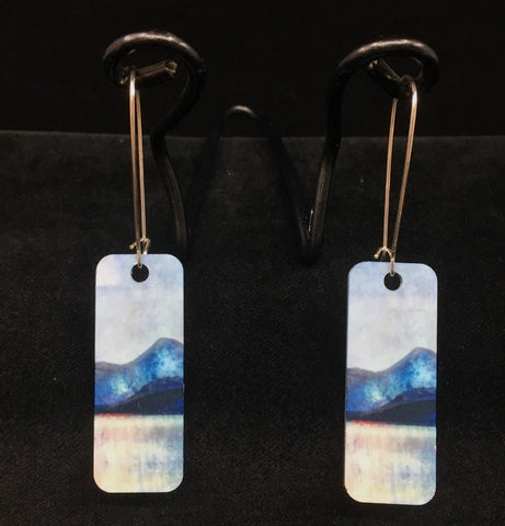 Sound of Mull rectangular earrings - blue and black mountains against a grey-blue sky