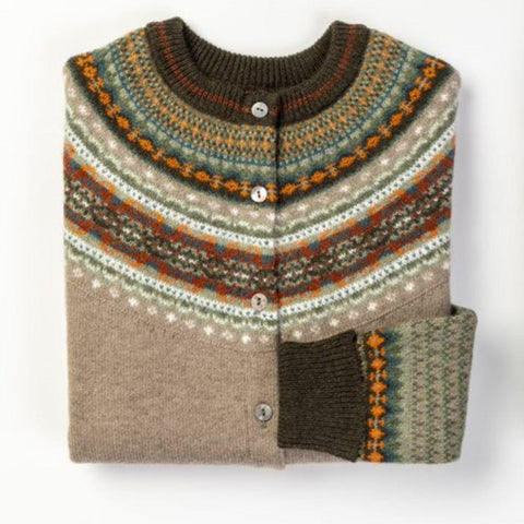 a beautiful birch coloured fairisle knit cardigan bt Eribe Knitwear