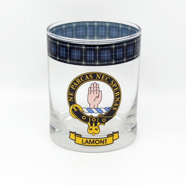 Lamont Clan Crest Tartan Whisky Glass |Scottish Shop