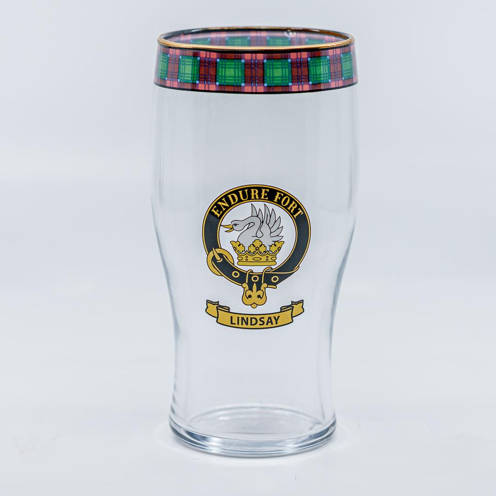 Lindsay Clan Crest Pint / Beer Glass | Scottish Shop