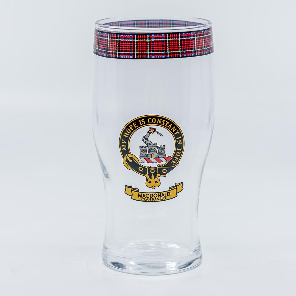 MacDonald Clan Crest Pint / Beer Glass | Scottish Shop