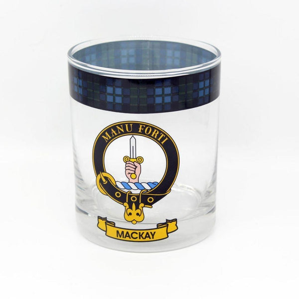 MacKay Clan Crest Tartan Whisky Glass |Scottish Shop