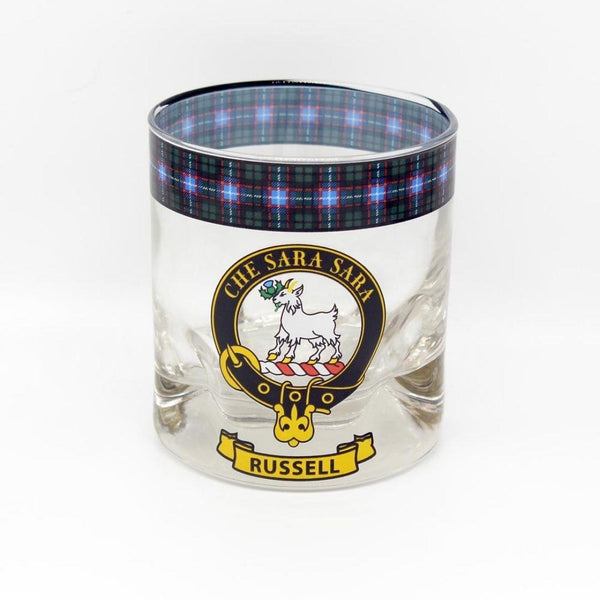 Russell Clan Crest Tartan Whisky Glass |Scottish Shop