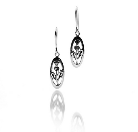 Sterling Silver Thistle Drop Earrings | Scottish Shop