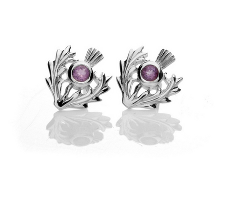 Sterling Silver Thistle Stud Earrings | Scottish Shop
