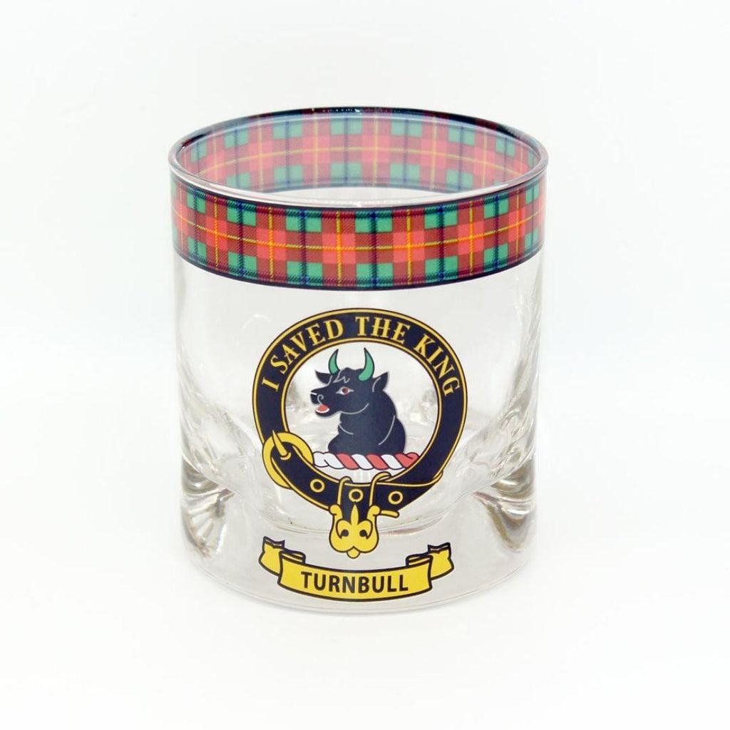 Turnbull Clan Crest Tartan Whisky Glass |Scottish Shop