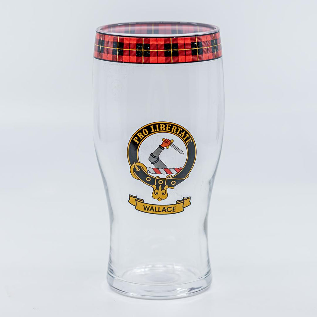 Wallace Clan Crest Pint / Beer Glass | Scottish Shop
