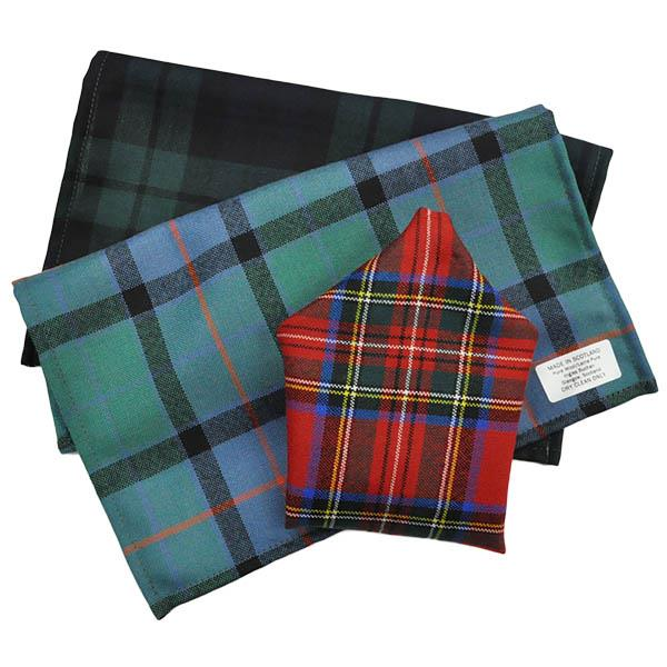 Stewart Muted Blue Weathered Tartan Pocket Square | Scottish Shop