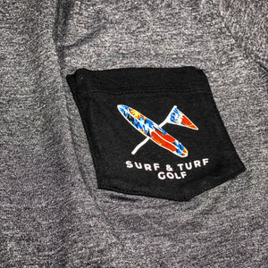 Playa Pocket Tee Charcoal - Surf & Turf Golf