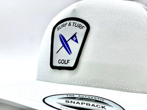 Rodney Right - White SnapBack trucker with White/Royal blue and Black patch)