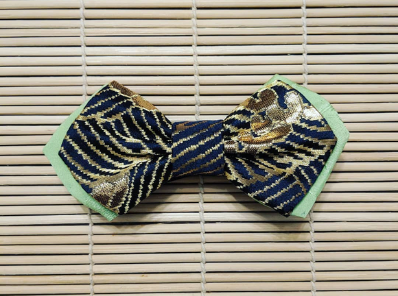 Double Layered Black and Gold Nishijin Kinran Bow Tie