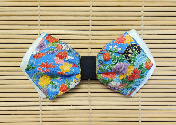 Double Layered Light Blue and White Silk Bow Tie