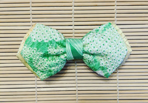 Green Shibori and Yellow Silk Kimono Double Layered Bow Tie
