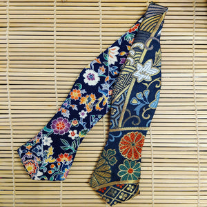 Diamond Cut Nishijin Flower Kimono Reversible Self-Tie Bow Tie