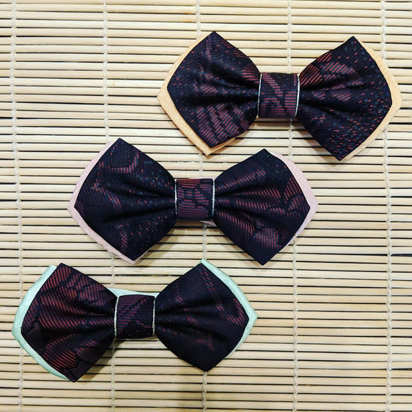Double Layered Dark Red Silk Kimono Bow Tie