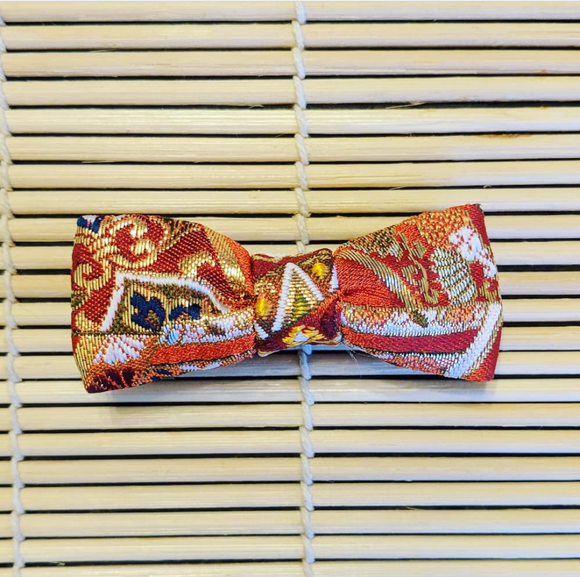 Nishijin - Burnt Orange Kinran Hair Clip