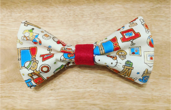 Cute Japanese Mascot Bow Tie White