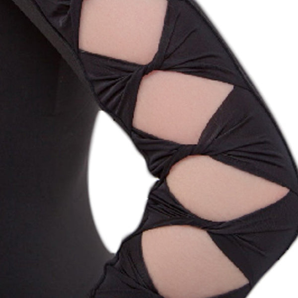 Black Ripple Sleeved Leotard
