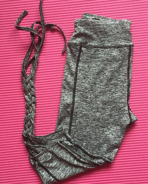 Cropped Ribbon Tied Athletic Leggings