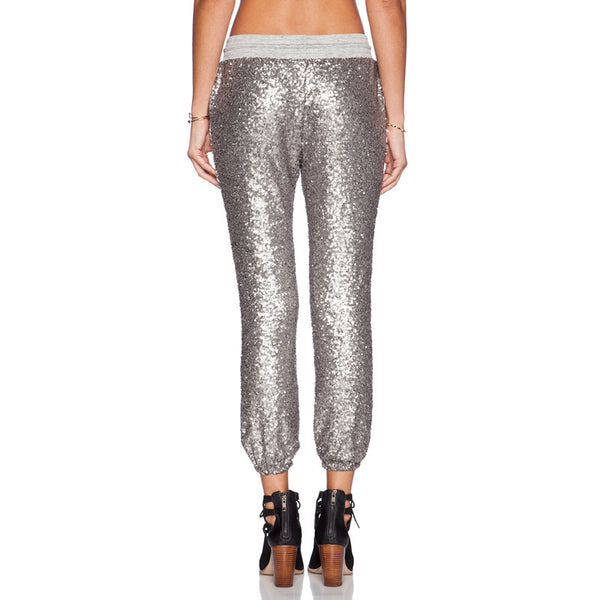 Silver Sequined Joggers
