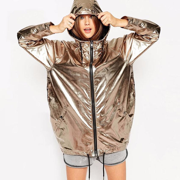 Extra Long Shiny Gold Dance Zip Up Hoodie