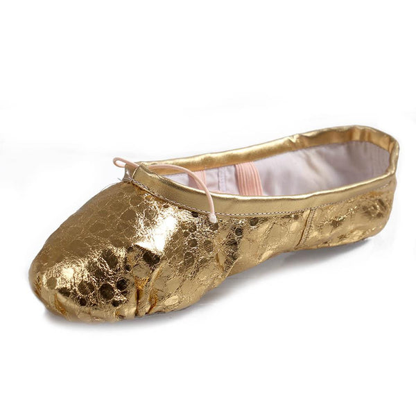 shiny gold ballet shoes