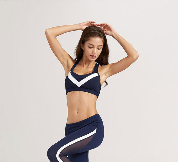 Blue White Stripe Athletic Leggings