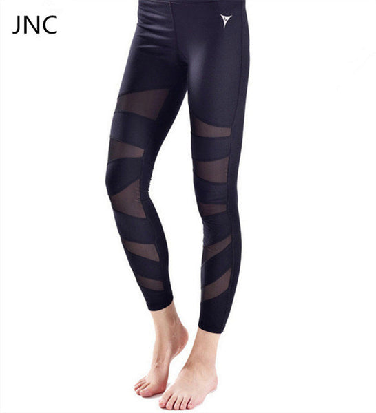 White Mesh Striped Athletic Leggings