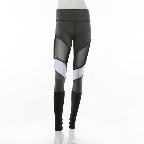 Mesh White Patchwork Athletic Leggings