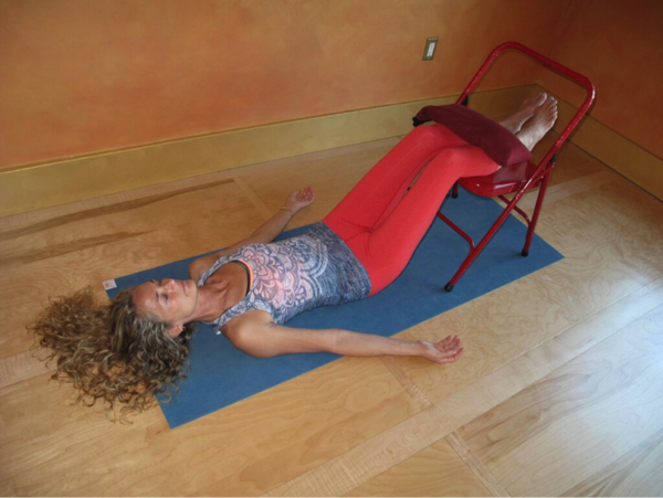 Savasana with a Chair and Weight