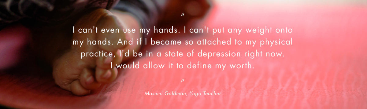 quote of woman sharing about doing yoga with a disability