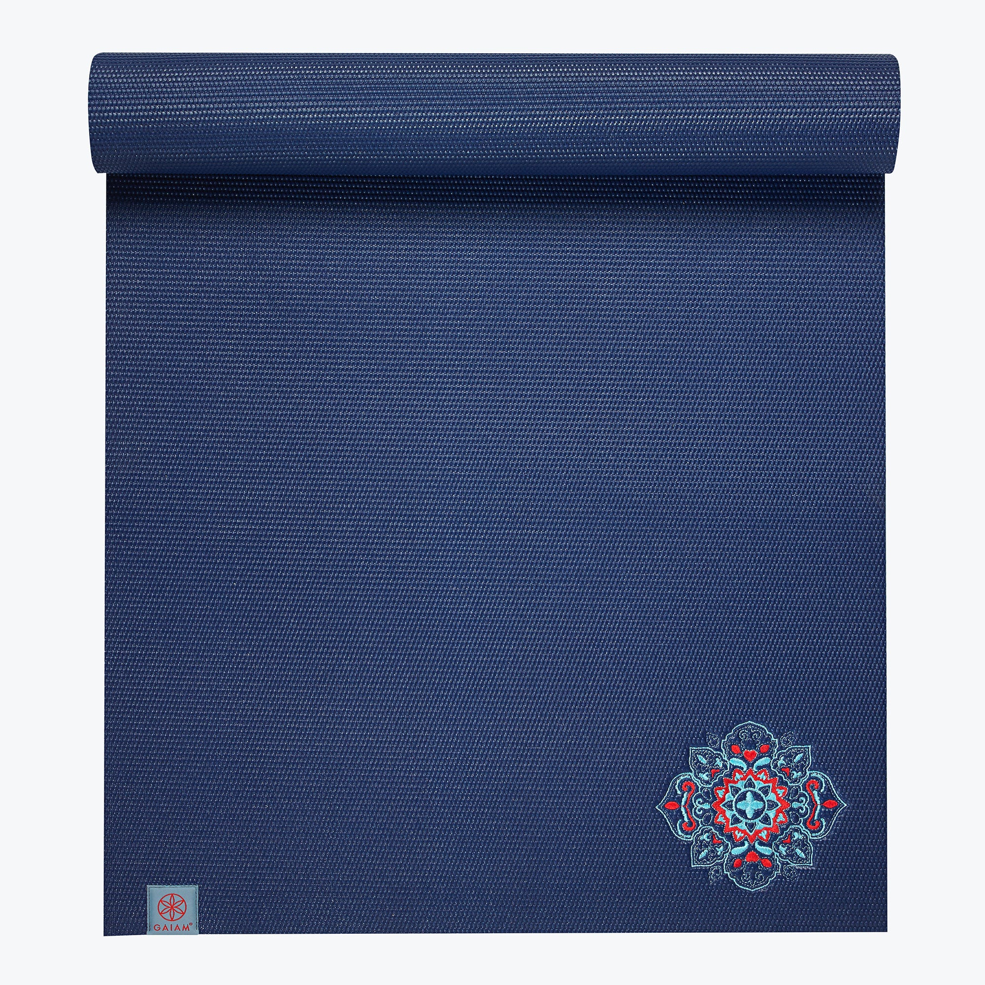 Gaiam Embroidered Floral Denim Yoga Mat (6mm)