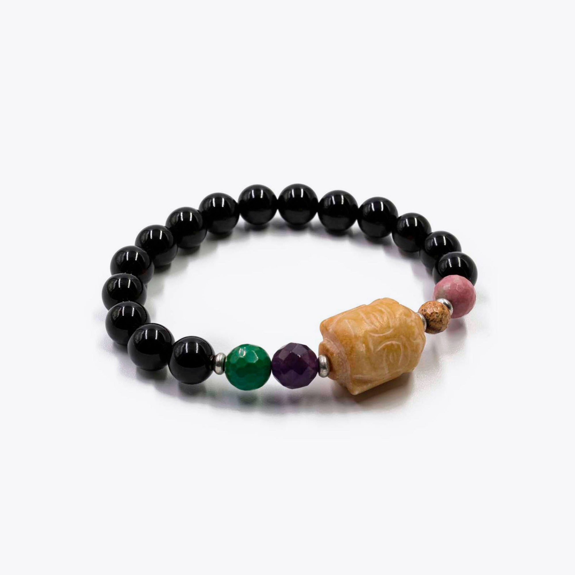 passion product bracelet red beads and golden stone lion courage jasper