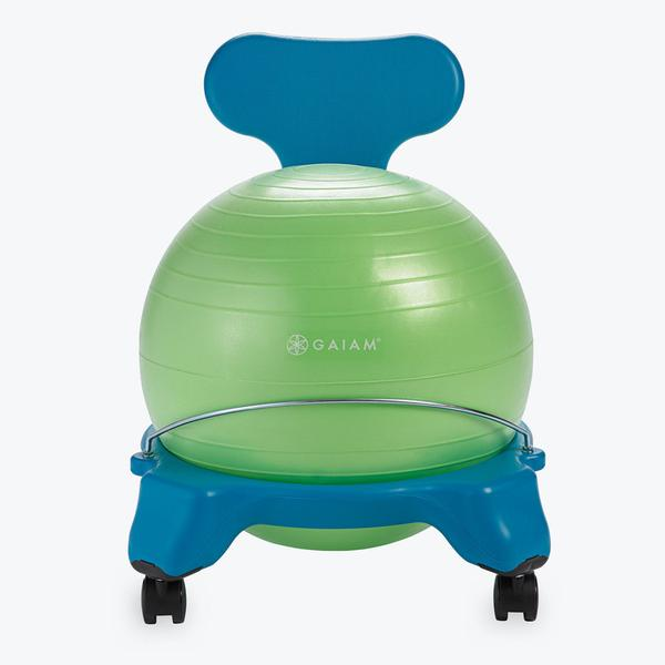 Gaiam Kids Classic Balance Ball Chair Flexible Classroom Seat, Blue/Green