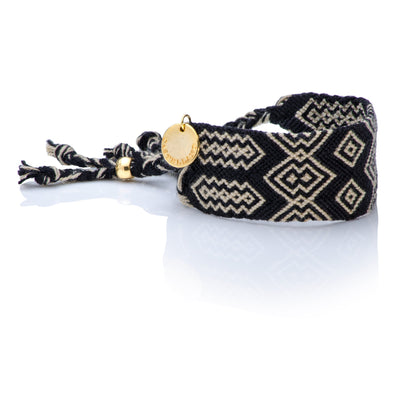 Pulsera Wayuu Good Vibes Black