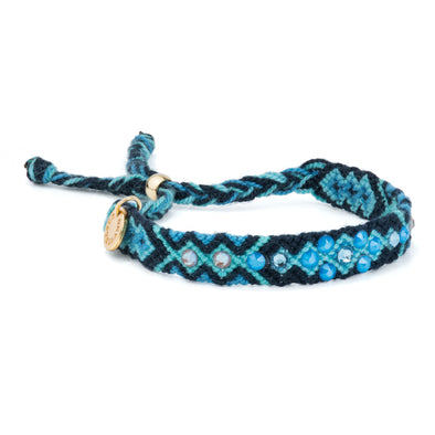 Pulsera Wayuu Be the Change-Electric Blue
