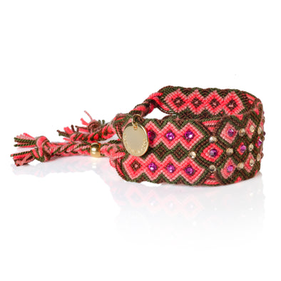 Pulsera Wayuu Girl Power - Red - pink