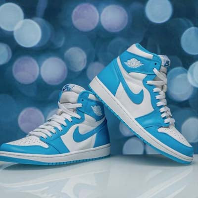 air jordan 1's white and blue high top sneakers