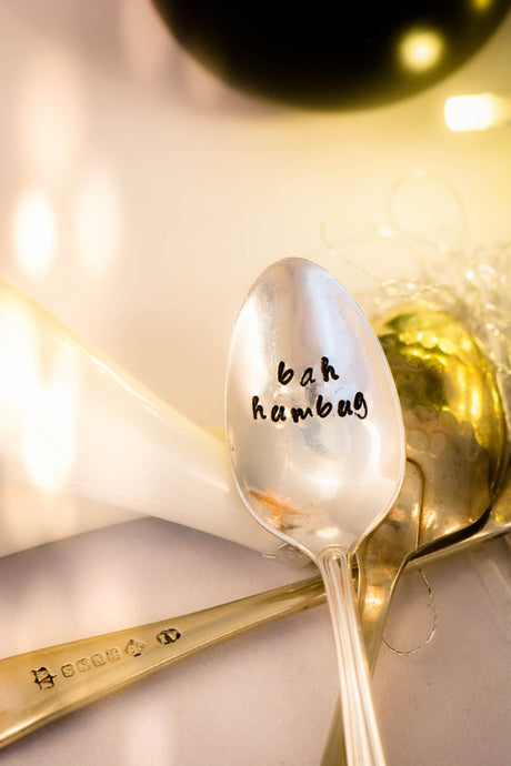 Bah Humbug - Hand Stamped Vintage Tea Spoon - One Mama One Shed