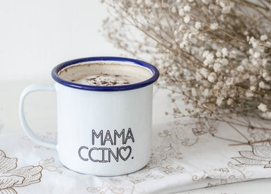 Mamaccino - My Ccino Mugs For Mums - Engraved Enamel Mug - One Mama One Shed